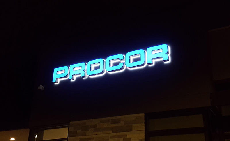 PROCOR Front and Back Lit Channel Letters in Oakville