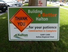 Finishing construction sign