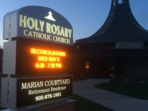 Electronic Message Center Sign - Holy Rosary Milton night