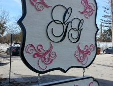 sandblasted hanging sign