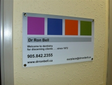 glass cased reception sign