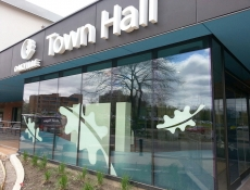window sign graphics oakville town hall