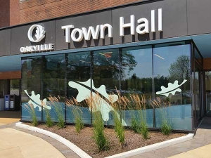 Oakville Town Hall window graphics