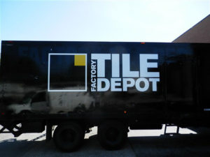 truck lettering for Factory Tile truck