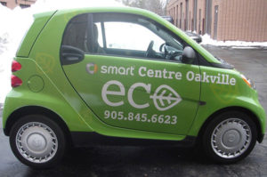 Green coloured smart car