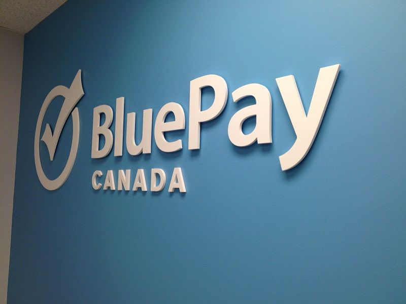 Blue Pay Canada Reception Sign