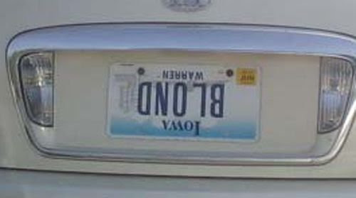 iowa blonde license plate
